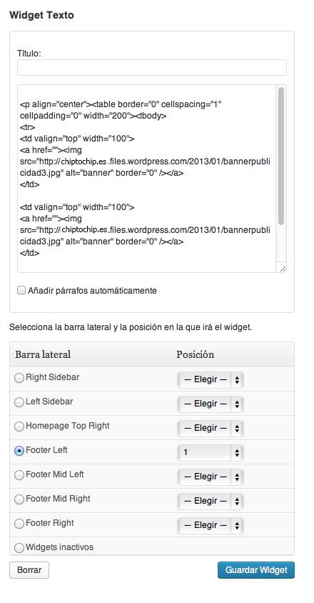 Widget Texto - Wordpress