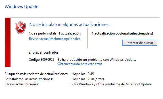 Error 800F0922 actualización KB43022345