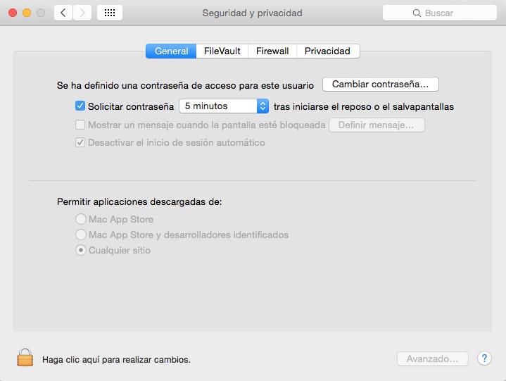 Menú seguridad y privacidad de Mac Os