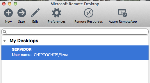 Escritorio remoto de windows configurado
