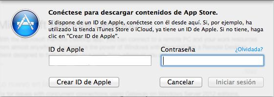Insertar contraseña App Store
