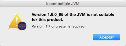 Máquina virtual de java incompatible