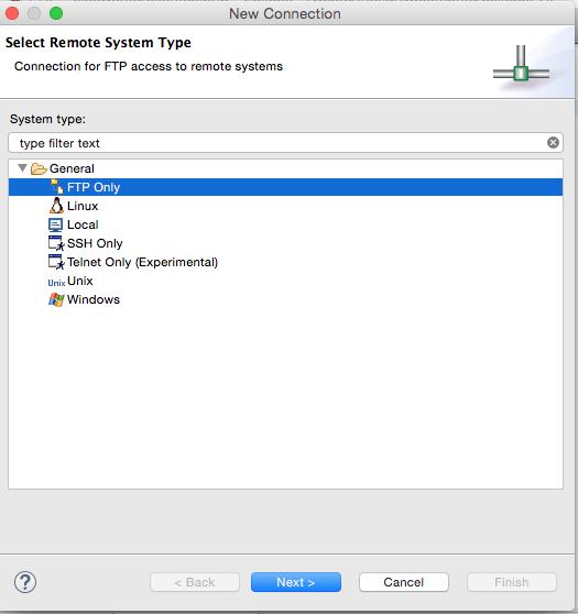 Seleccionar tipo de servidor remoto