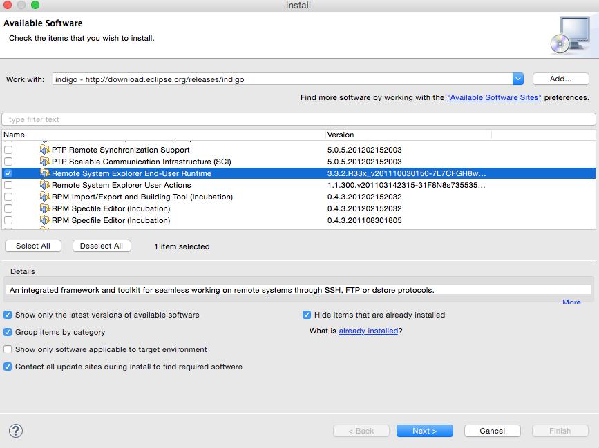 Seleccionamos remote system explorer end user runtime
