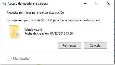 Error al eliminar carpeta windows.old
