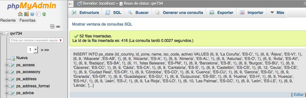 Sentencia SQL - Insertar Provincias Prestashop 1.6