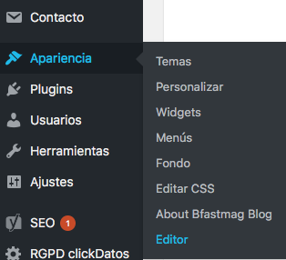 Editar head en wordpress