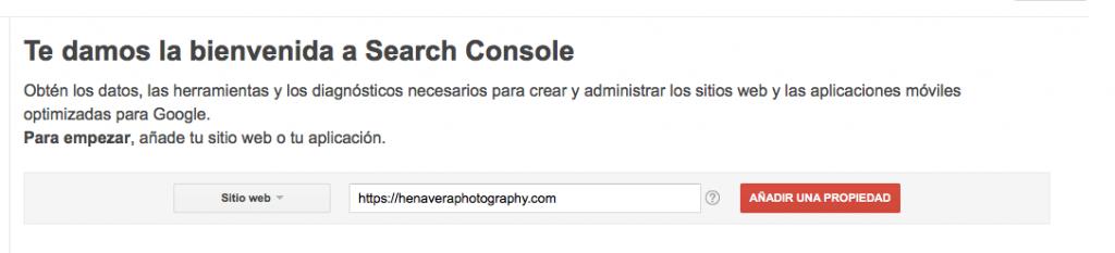 bienvenida google search console