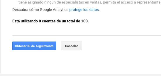 Obtener ID seguimiento Google Analytics