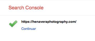 Sitio web verificado Google search console