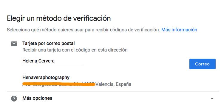 verificación correo google mybussines