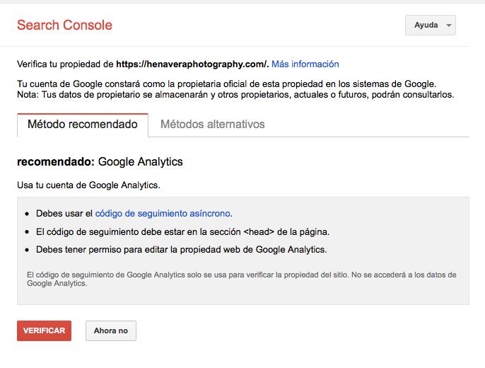 verificación propiedad web google search console